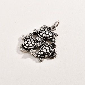 Sterling 925 3 Large Turtle Pendant
